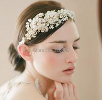 100% handmade pearl  Wedding gold plated headdress fashion crystal bridal head band wedding hair jewelry accessory