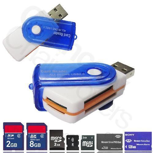 Free Shipping new USB 2.0 All IN 1 MS M2 SDHC TF Micro SD U-Flash Memory Card Reader Free Shipping L0192590(China (Mainland))