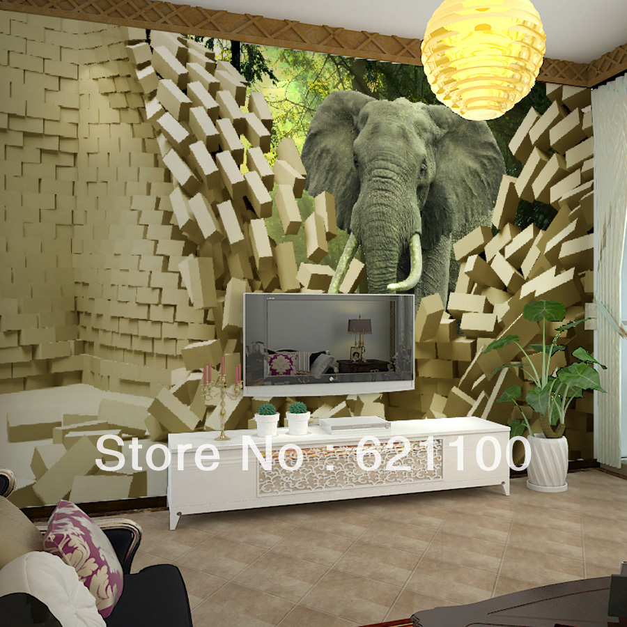 Quality large mural 3d hd background wallpaper extent for Elephant wall mural