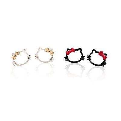 Trendy Hot sale cute hollowed Hello kitty cat stud earrings. Charm Enamel drip oil Bow earrings for women fashion jewelry(China (Mainland))