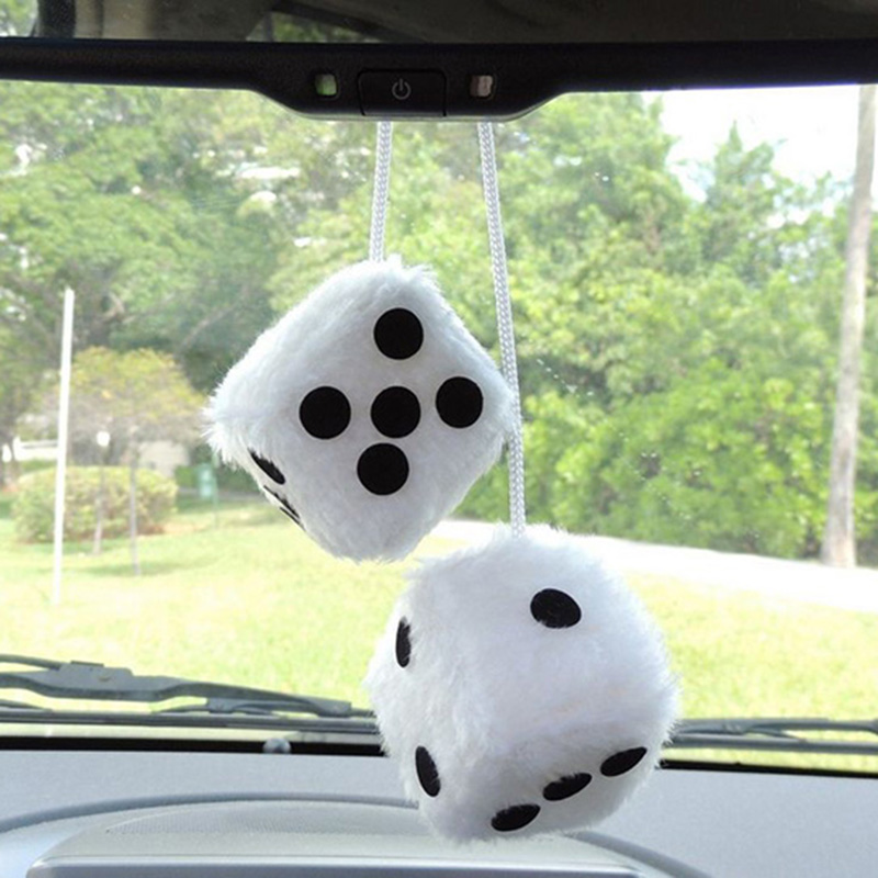 2pcs lot White Car Hanging Mirror styling 2 75 Plush Fuzzy Funny Dice Interior Accessories car