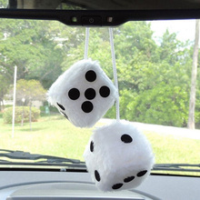 "2pcs/lot Hot  White Car Hanging Mirror New 2.75"" Plush Fuzzy Funny Dice good quality and free shipping"