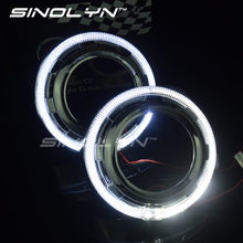 Buy LED Daytime Running Light Angel Eye Integrated Bezel Shroud Masks Hoods DRL 2.5'' 3 Inches WST Q5 E5 Bixenon Projector Lens for $45.99 in AliExpress store