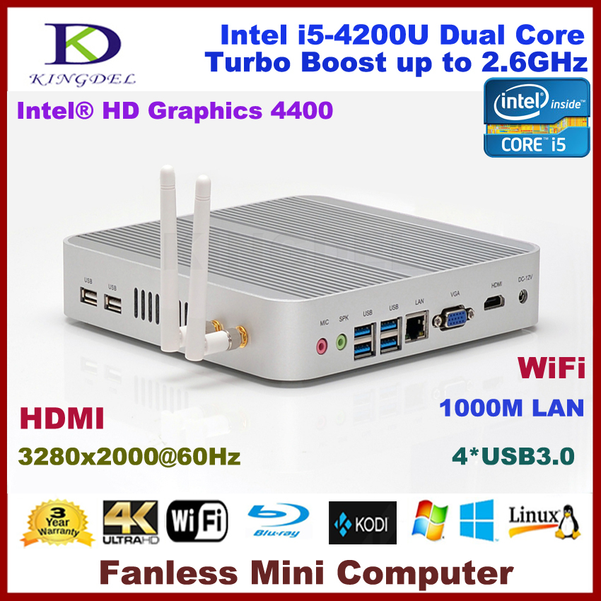Intel i5-4200U CPU Thin Client PC, Fanless Nettop, 3280*2000, 2GB RAM, 60GB SSD, WiFi, 4*USB 3.0, HDMI, 4K, Blue-ray supported(Hong Kong)