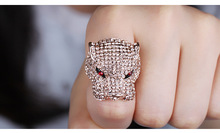 Europe And Super Hot Flash Full of Zirconia Diamond Exaggerated Leopard Popular Ring with Ruby Eyes
