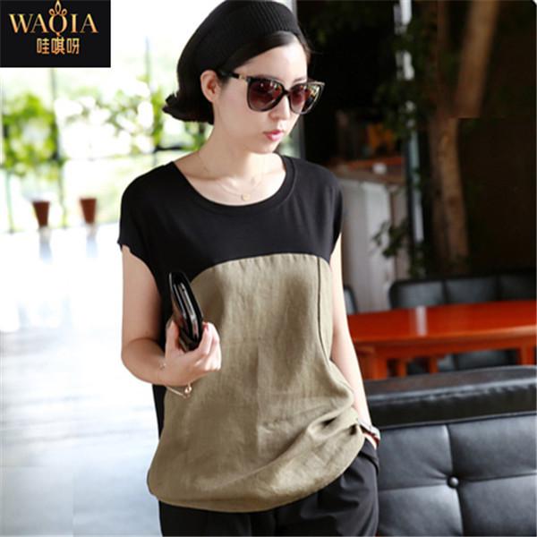 Женская футболка WAQIA 2015 o t l/4xl женская футболка new stripe top t 2015 o vt237