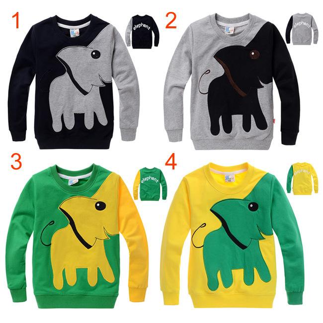 High quality Cotton Unisex top Cartoon Elephant long sleeve baby girls boys sweatshirts mix colors warm baby clothes kids shirt<br><br>Aliexpress