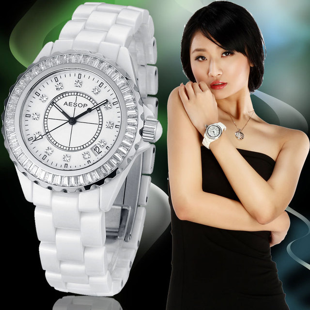 AESOP Brand White Ceramic Watch Crystal CZ Diamond Inlaid Women Dress Rhinestone Watches Fashion Date Day Dual Time Display 9906