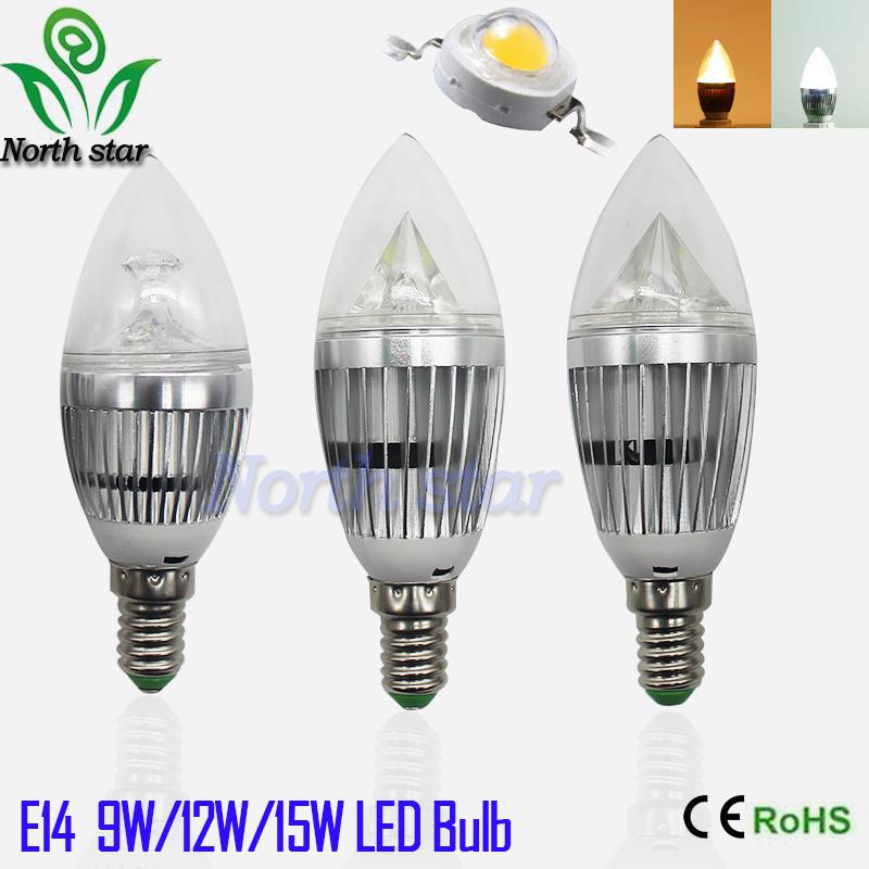 1pcs Dimmable E14 9W 12W 15W 110v 220v LED Candle Light LED bulb lamp LED spot Light Free shipping(China (Mainland))
