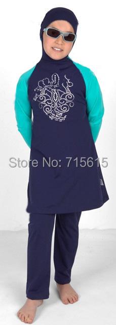 Girl muslim swimwear Child swimsuit islamic swimwear For little Girl Islamic Clothing(China (Mainland))
