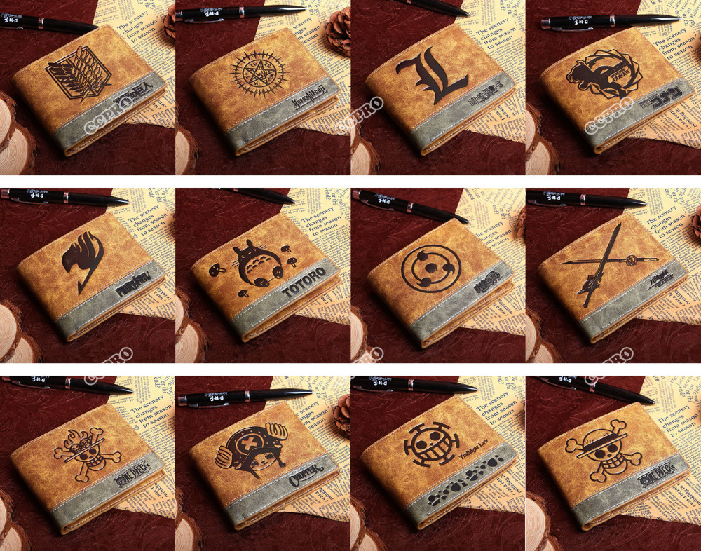 PU wallet of Anime Black Butler/ Death Note/Fairy Tail/ Naruto/One Piece Law ETC(China (Mainland))