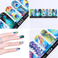 1 Sheet Beautiful Peacock Feather Nail Wraps Colorful Bright Decals Nail Art Full Stickers Manicure Nail