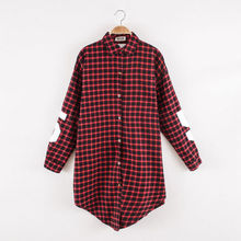 Spring Autumn Turn Down Collar Blouse Women Casual Plaid Letter Cotton Shirt Casual Black Red Women Clothes 2015(China (Mainland))