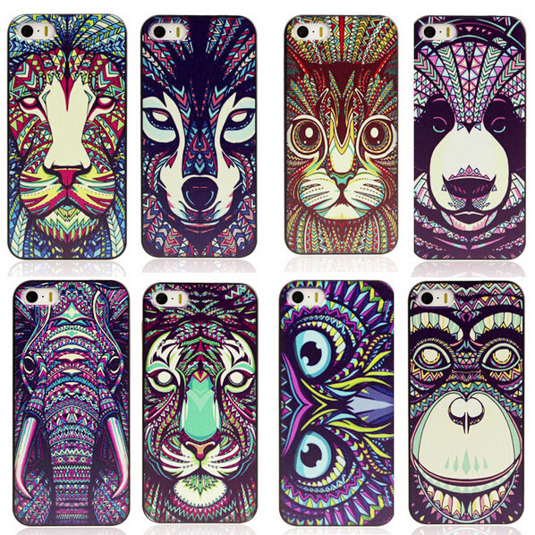 For iPhone 5 5G 5S Case Cover New Fashion Cute Aztec Animal Elephant Tiger Owl Orangutan Bear Kitten Wolf Painted Back Lucky(China (Mainland))