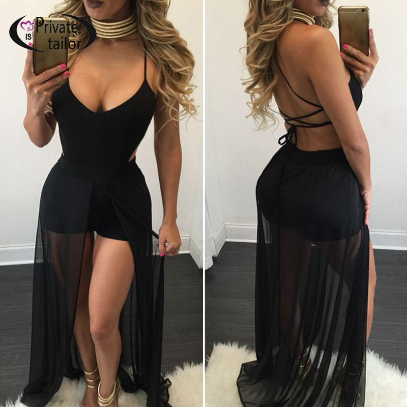 2016 Summer Women Chiffon Bodysuit sexy Backless tie up Sleeveless Short Overalls Rompers Black&White Jumpsuits(China (Mainland))