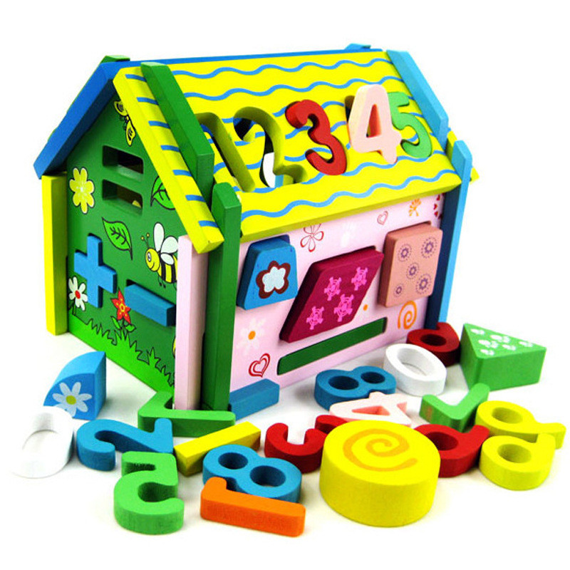 Free Shipping 3D Wood Building Puzzle DIY Model Kids Colorful Math House Puzzle Toy(China (Mainland))
