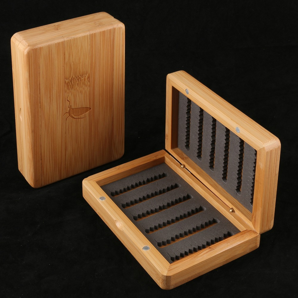 fly fishing box good feeling smooth surface wooden fly box