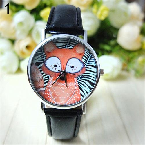 Fancy Unisex Mens Womens Lovers Black White Stripe Fox Dial Faux Leather Analog Quartz Wrist Watch
