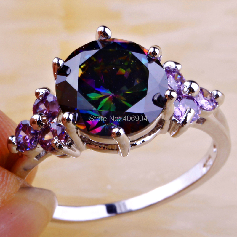 Wholesale Mysterious Round Cut Rainbow Topaz & Amethyst 925 Silver Ring Size 6 7 8 9 10 11 12 Fashion New Jewelry Free Shipping(China (Mainland))
