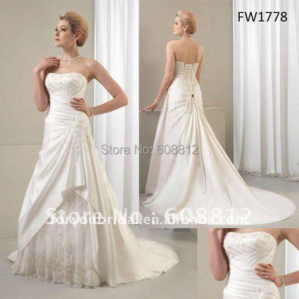 Fw1778 атласная длиной до пола рукавов мода свадебное платье