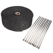 2inch x5m High Exhaust Pipe Header Heat Wrap Resistant Downpipe 10 Stainless Steel Ties 5mx5cmx2mm(China (Mainland))