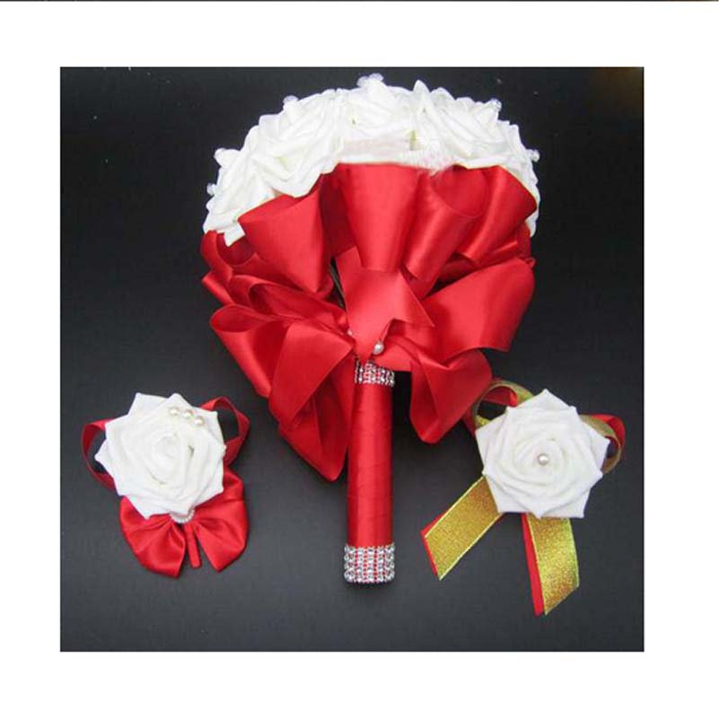 3pc Set Bouquet and Wrist Corsage and Boutonniere Blue buque de noiva White Artifical Rose Wedding(China (Mainland))
