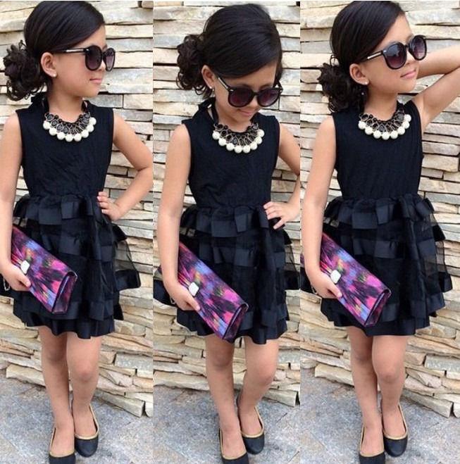 2016 New Baby Girls Princess Black Dresses Summer Solid PartyTulle Dress Fit 2 7Y UK Hot