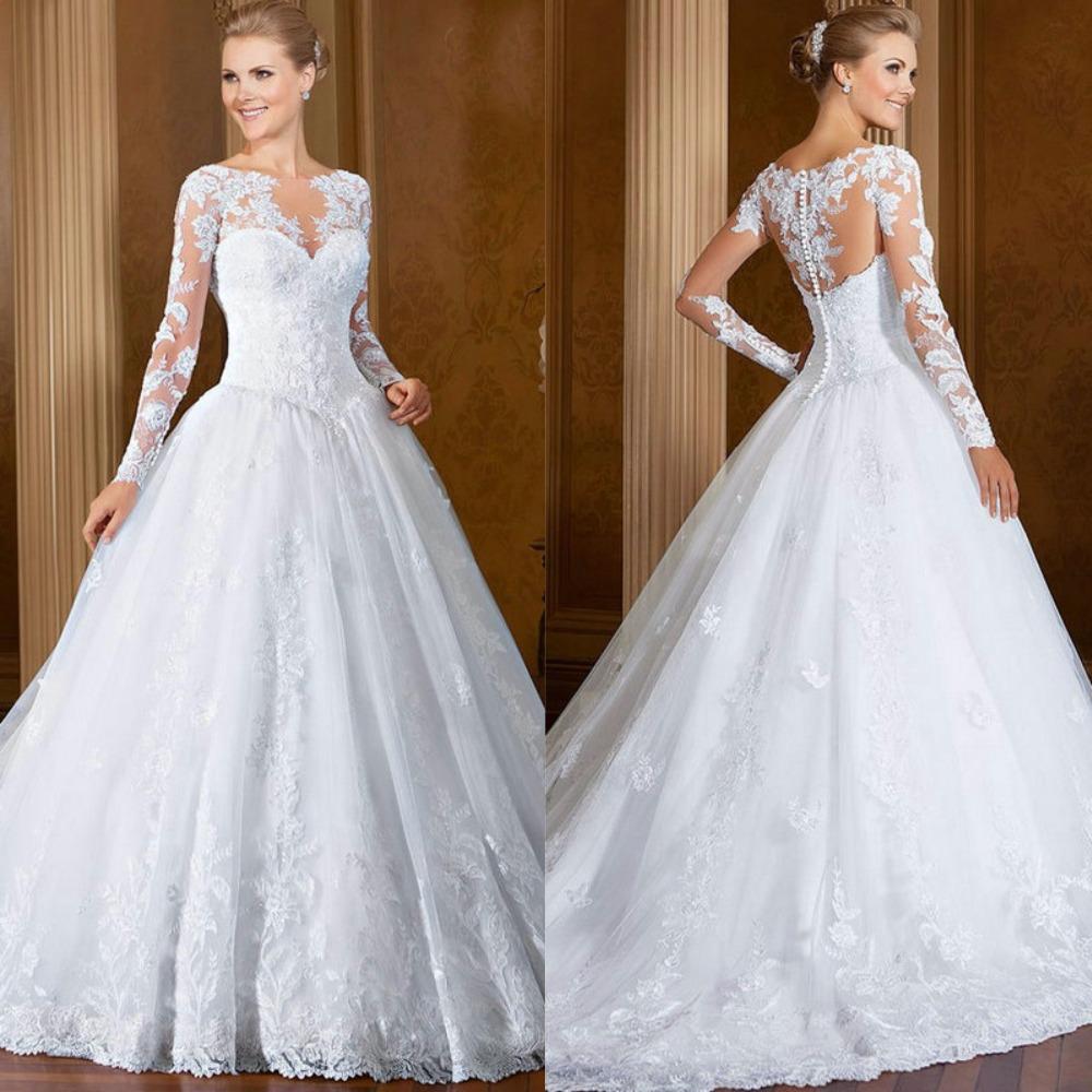 White long sleeve lace wedding dresses muslim vestidos de for Long sleeve princess wedding dresses