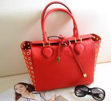 AB613 OL Elegant solid Hollow out Genuine leather woman lady girl Handbag Purse Shopper Tote bag red blue shoulder bag ms