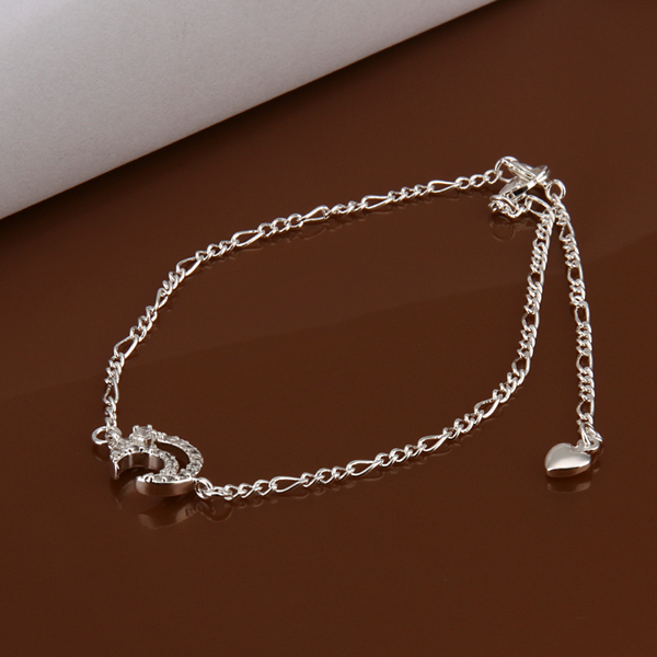 HOT! 925 sterling silver Anklets,925 silver fashion jewelry charm Anklets rhinestone moon foot chain Anklets for women SA022(China (Mainland))