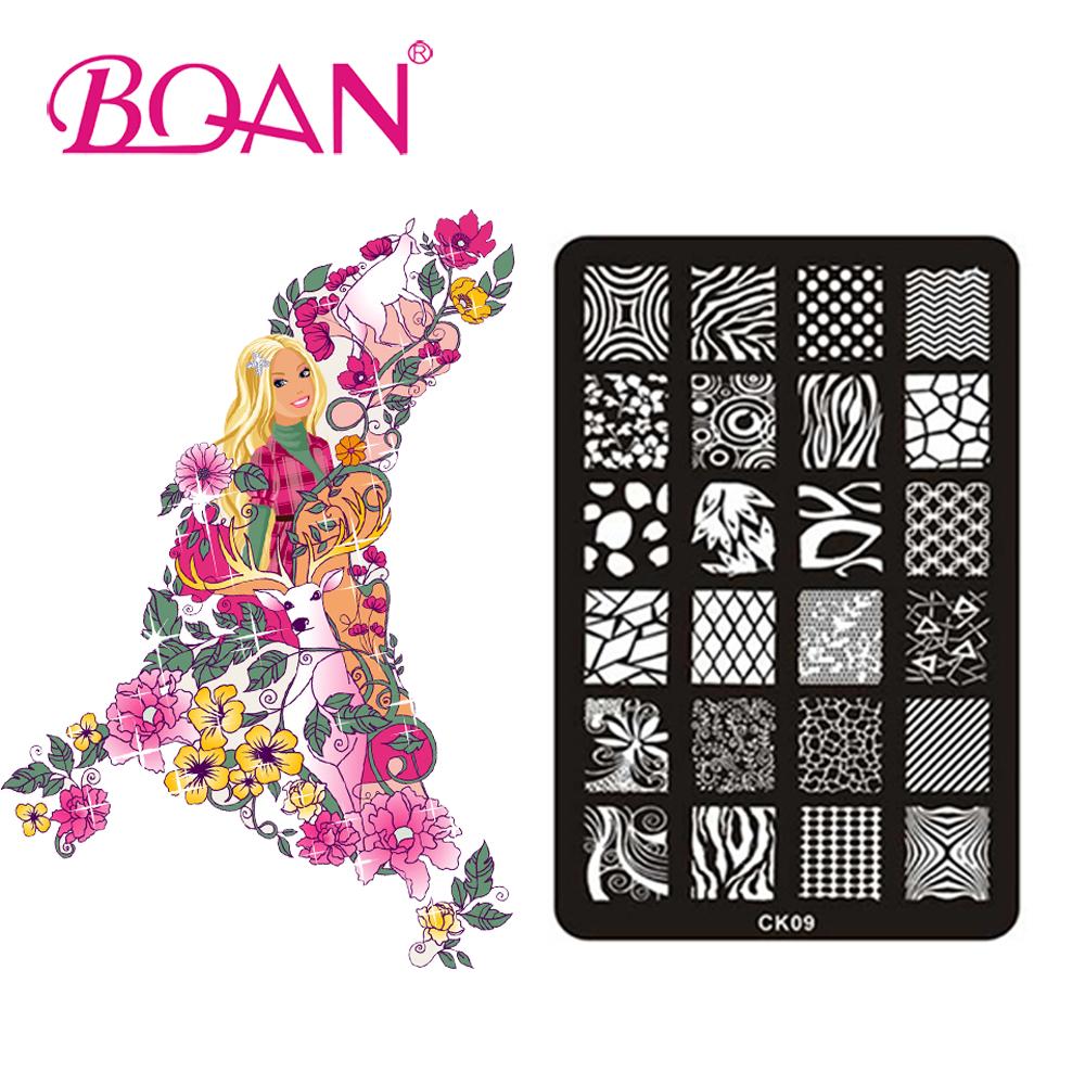 BQAN Free Shipping 1pc Irregular Line Images Nail Art Stamping Plates Stamping Nail Polish CK09(China (Mainland))