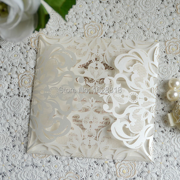 Handmade wedding items paper cut cards for wedding square invitation with free envelope(China (Mainland))