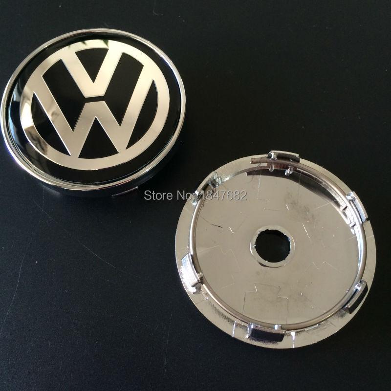 2 chrome VW 60mm wheel center caps Volkswagen golf gti PASSAT TOURAN car badge emblem decoration