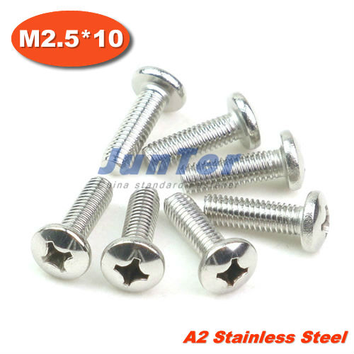 1000pcs/lot DIN7985 M2.5*10mm Stainless Steel A2 Pan Head Phillips (Cross recessed pan head) Screw<br><br>Aliexpress