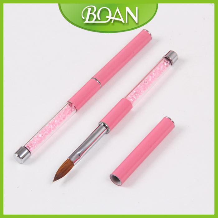 BQAN 2015 Best Seller Pink Rhinestone Handle Nail Brush Kolinsky 8#(China (Mainland))