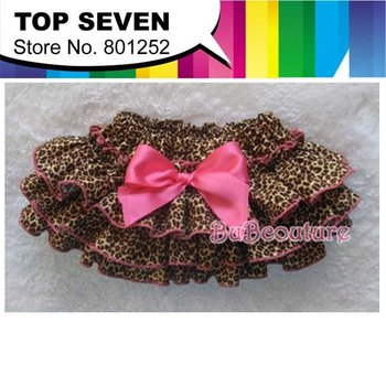 Newest 2014 baby girls leopard bloomer kids bow layered lovely bloomer infant ruffles cute fashion bloomer free shipping