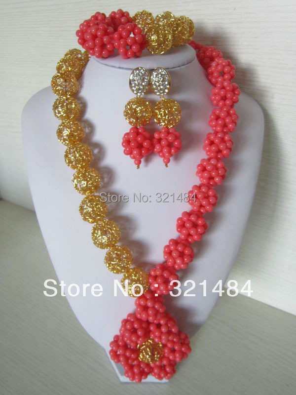 New Top Design!!! Nigerian African Wedding Beads Pink Coral Beads Jewelry Set Necklace Bracelet Clip Earrings CJS-178<br><br>Aliexpress