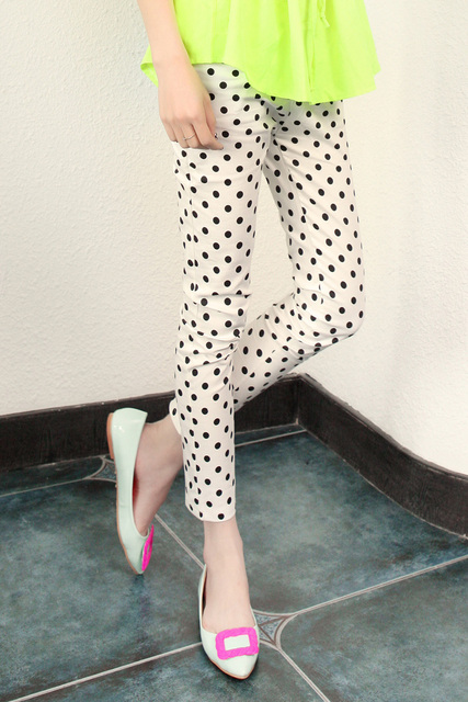 Pants classic black and white polka dot slim pencil pants casual pants legging