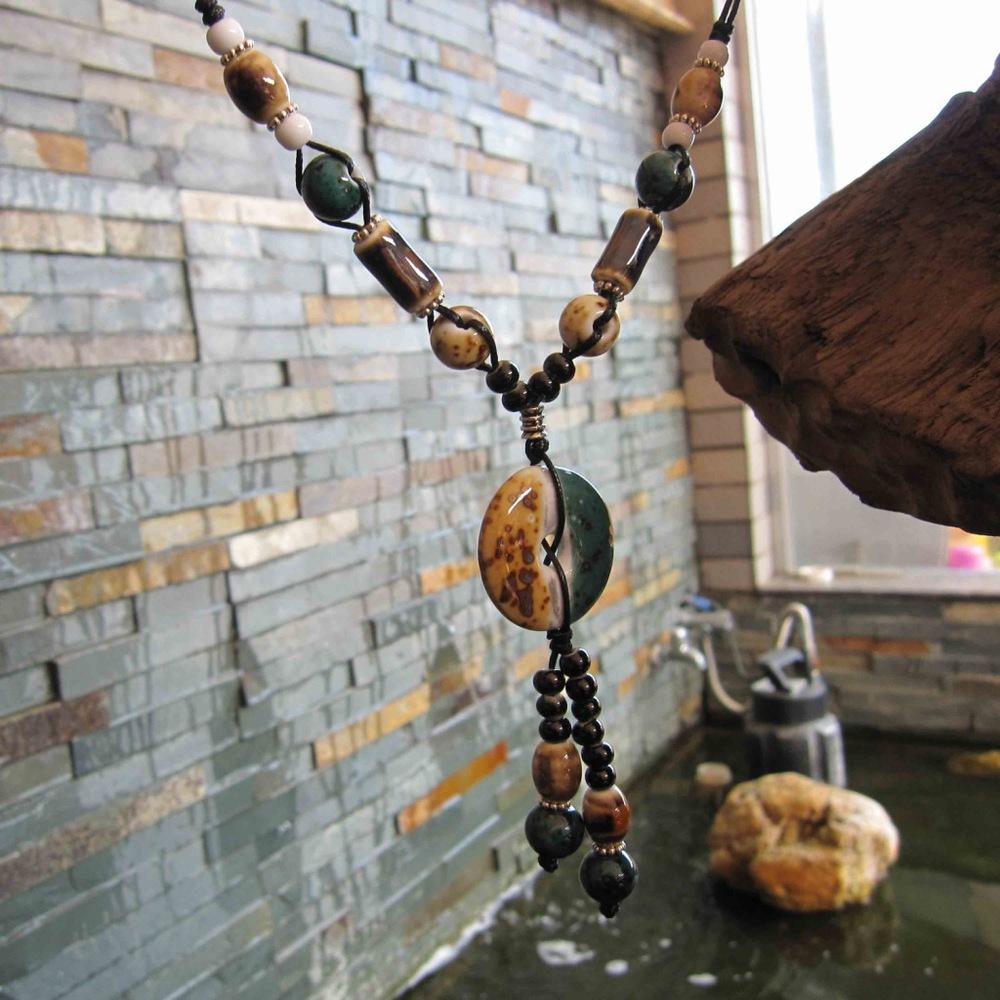 High-end jewelry wholesale jewelry supply store Jingdezhen Ceramic handmade sweater chain Long necklace(China (Mainland))