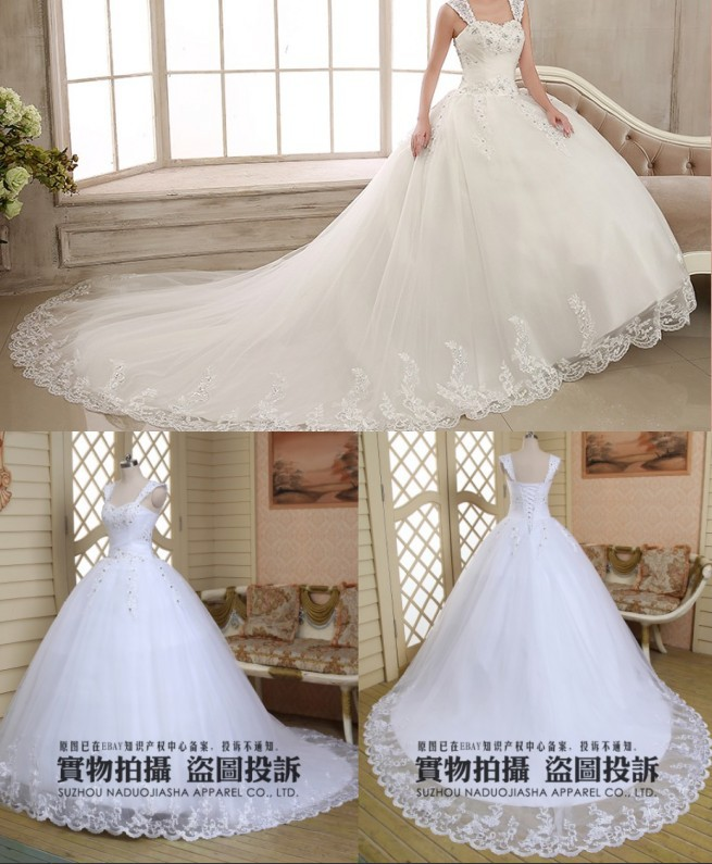 2015 Sexy Removable shoulder strap floor length Empire train sleeveless tan puffy cathedral a line dress saab wedding dresses(China (Mainland))
