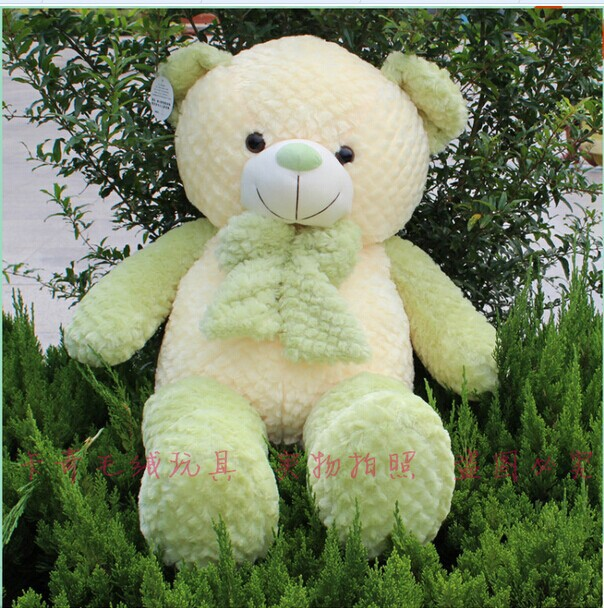 huge lovely green teddy bear toy plush green bow bear toy high quality bear doll about 120cm(China (Mainland))