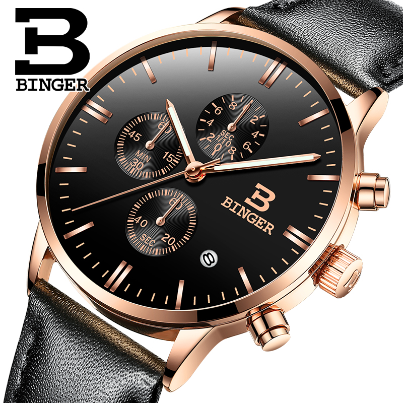 Switzerland BINGER Watches Chronograph Men Watches Sports Quartz Watch Luxury Brand Watch Men 2016 Black Leather Strap B-9201M(China (Mainland))