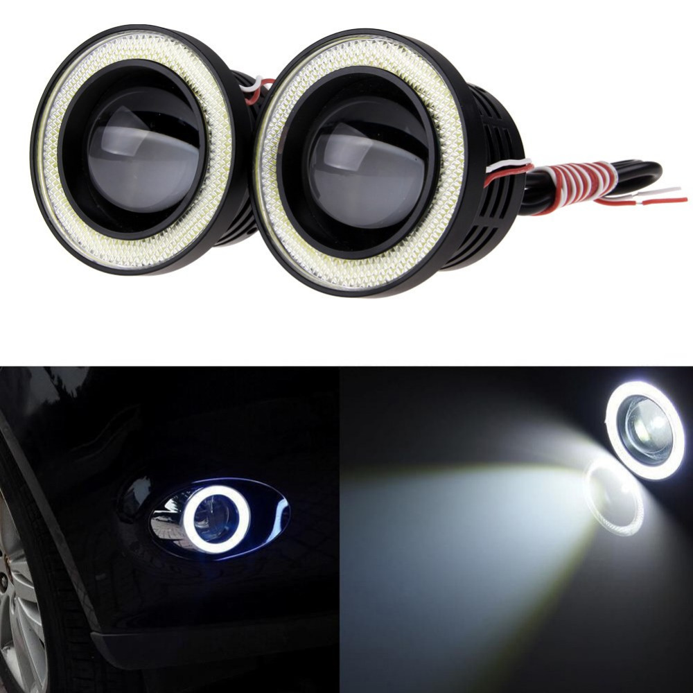 "2x High Power 3.0"" Projector For Car LED Fog Light 10W COB Halo Angel Eyes Rings 4-east(China (Mainland))"