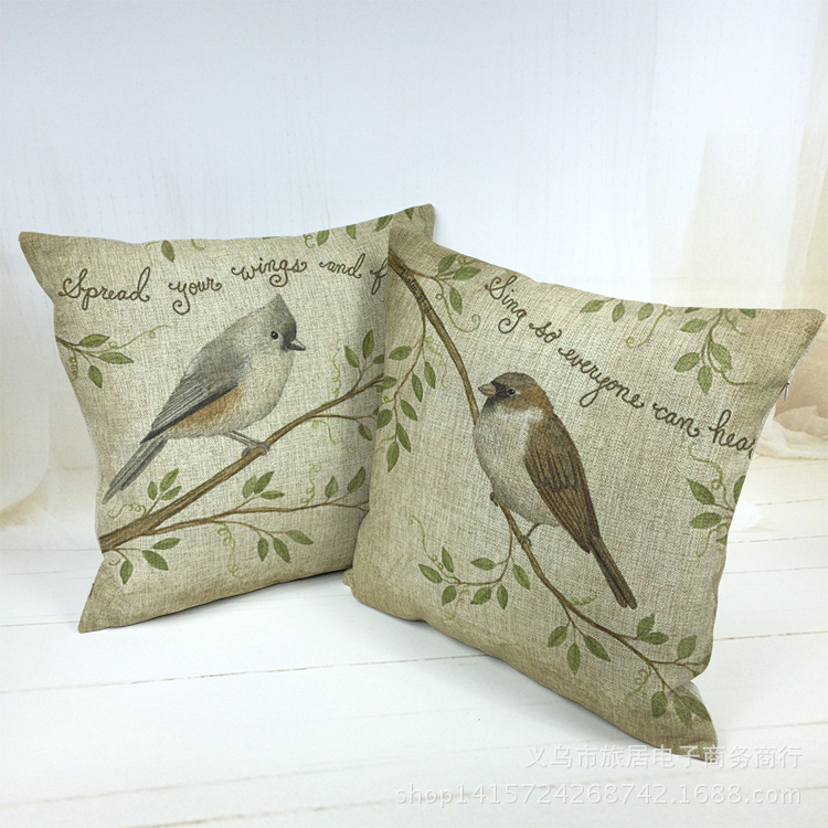 Home Decor Sofa Decorative Cushion Covers Bird Throw Pillow Case Car Capa Para Almofada Scandinavian Chair Housse De Coussin