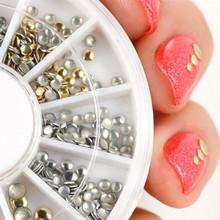 500Pcs 1 2mm 2mm 3mm Mini Gold And Silver Round Stud Rhinestone Nail Art Decoration w