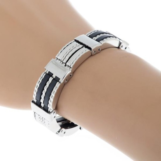 New Men High Quality Stainless Steel Bracelet Silver Link Black Rubber Chain Bangle