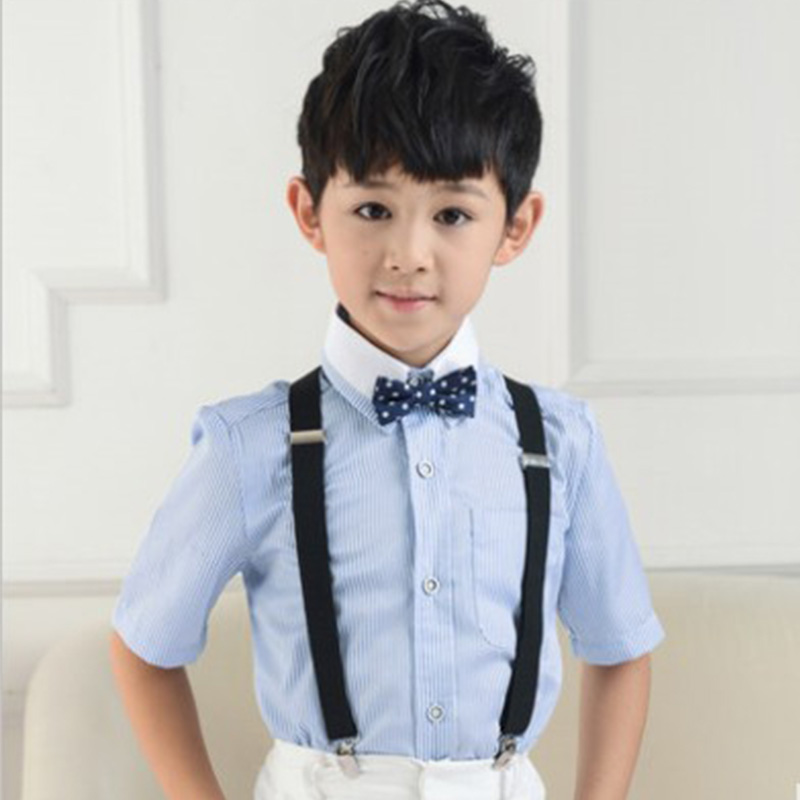 Fashion Y-Back Adjustable Synthetic Suspenders Solid Black Color Leather Suspender for Wedding Party Gifts Suit for Boy & Girl