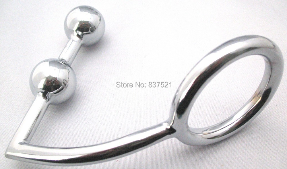 Steel Cock ring with double spherical anal plug , sex toy , sex products.<br><br>Aliexpress