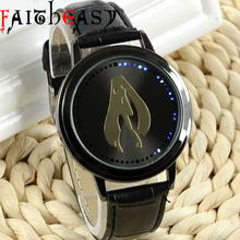 Black Leather Sailor Moon Bule LED Watch Man Woman Quartz Wrist Watch Fashion 2016