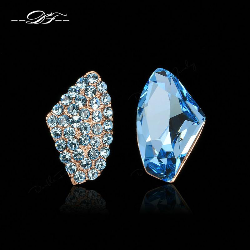 Blue Austrilian Crystal Party Stud Earrings 18K Rose Gold Plated Fashion Brand Imitation Gemstone Jewelry For Women DFE113(China (Mainland))